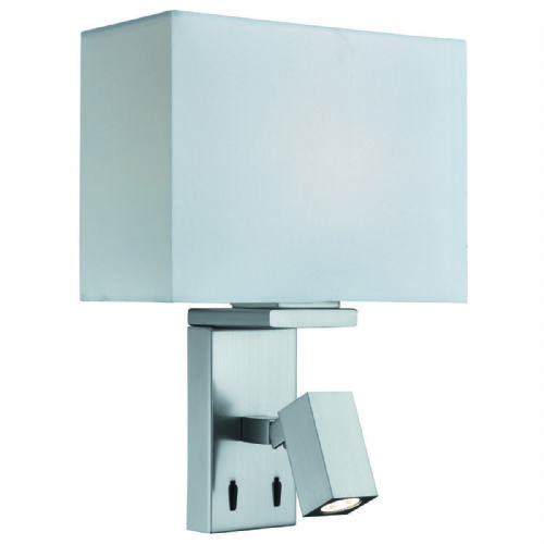 Adjustable Wall 1 Light/Rectangle Arm Led Reading Light, Satin Silver, White Fabric Shade 0882Ss